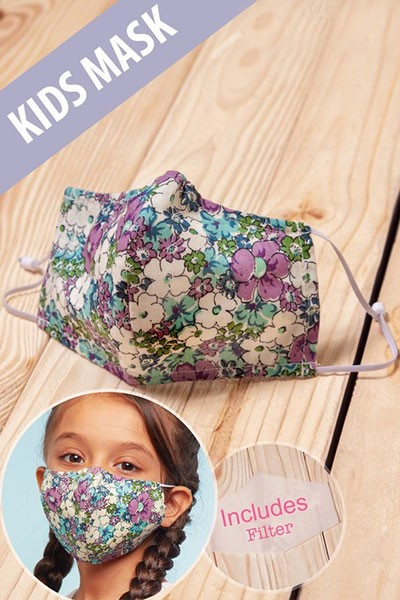 Kids Cotton Washable Face Mask Reusable Cloth Face Covering with Slot for Filter-Purple Floral Print
