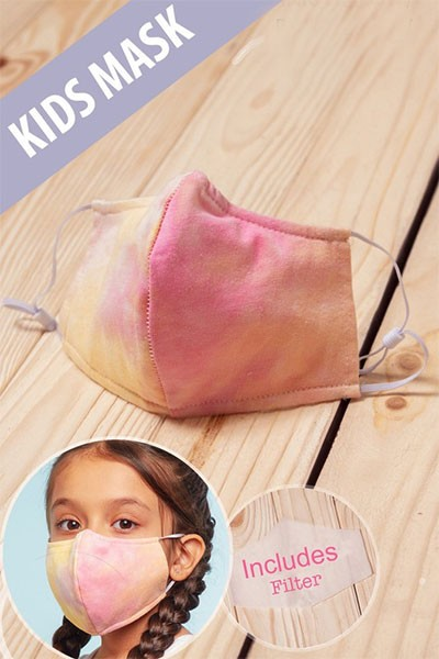 Kids Cotton Washable Face Mask Reusable Cloth Face Covering with Slot for Filter-Pink Tie Dye
