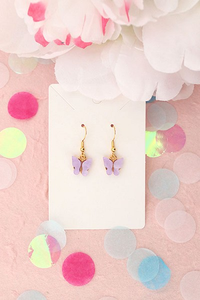 Granola + Barley Butterfly Earrings-Purple