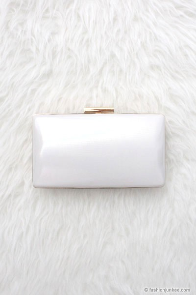 :As Seen In PEOPLE STYLEWATCH Magazine: Simple & Elegant Hard Clutch-White