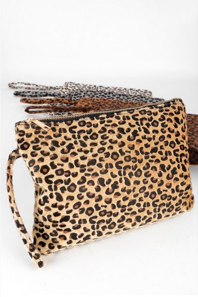 Faux Fur Leopard Cheetah Print Clutch with Zipper Closure-Leopard Animal Print