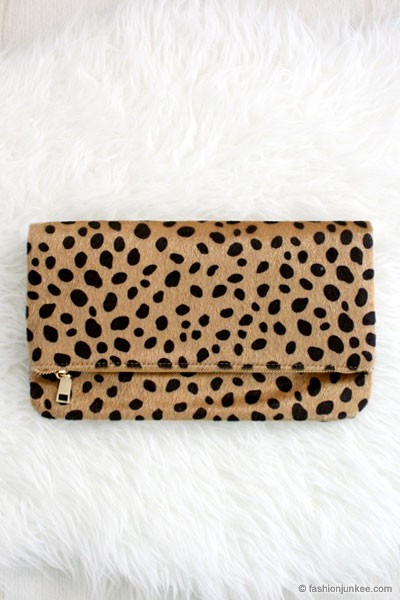 Foldover Cheetah Leopard Animal Print Faux Fur Clutch-Leopard Print