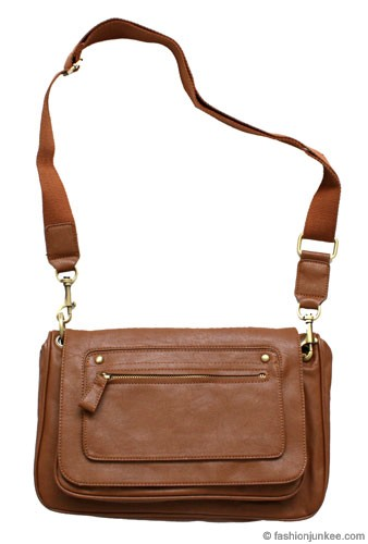 :As Seen in PEOPLE MAGAZINE: Classic Messenger Bag with Long Canvas Strap-Brown
