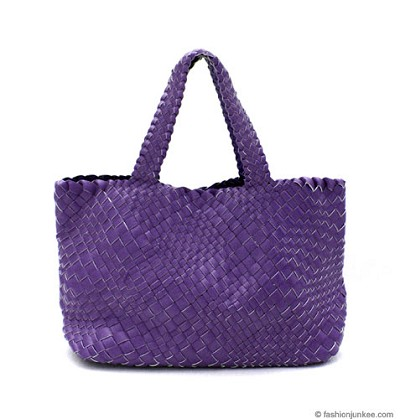 Slouchy Oversized Large Woven Tote Handbag-Blue