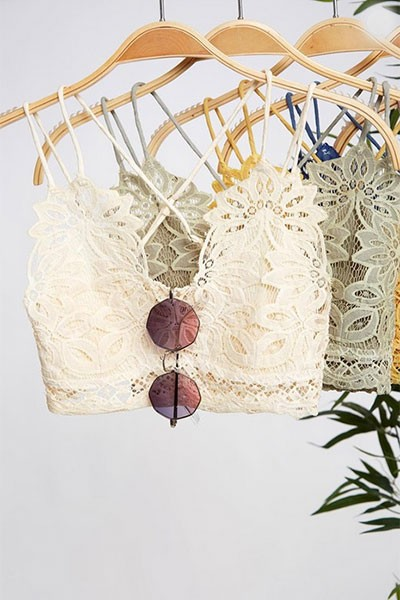 Double Strap Lace Bralette-Ivory Off White