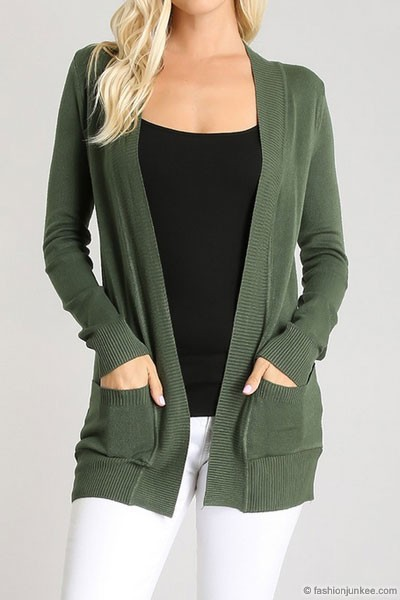 Knit Open Front Sweater Basic Cardigan with Pockets-Olive Green