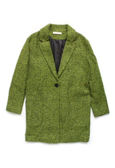 :As Seen In PEOPLE STYLEWATCH Magazine: Thick Boxy Single Button Coat-Green