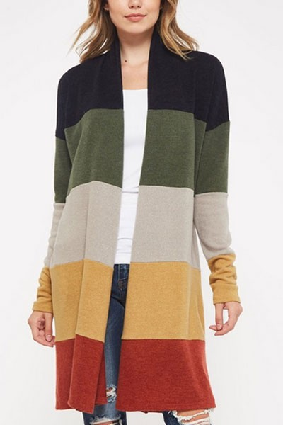 Long Colorblock Striped Rainbow Cardigan-Olive & Rust