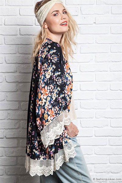 :As Seen In US WEEKLY: Bohemian Vintage Inspired Floral Lace Kimono Cardigan-Black