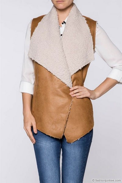FLASH SALE: Faux Leather Draped Sleeveless Vest with Fur Shearling Lining-Camel