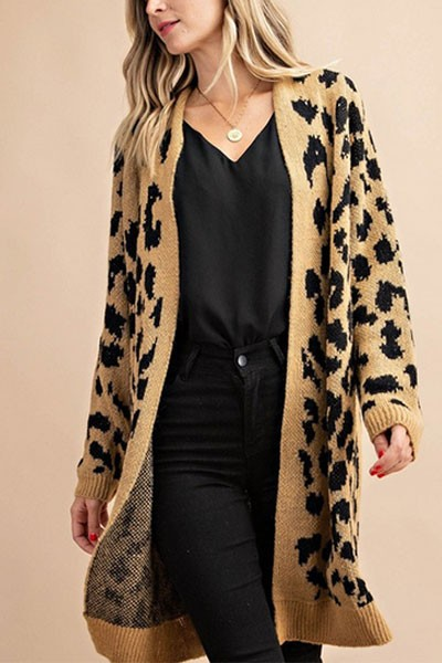 Long Oversized Animal Leopard Print Sweater Cardigan-Taupe Leopard Print