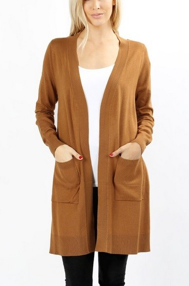 Long Open Front Everyday Cardigan with Pockets-Brown
