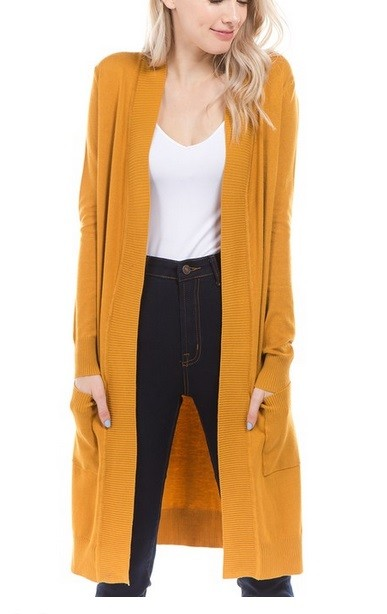 Long Open Front Everyday Cardigan with Pockets-Mustard Yellow