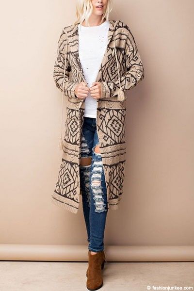 Long Hooded Tribal Aztec Geometric Print Open Front Cardigan Jacket-Mocha Brown & Olive