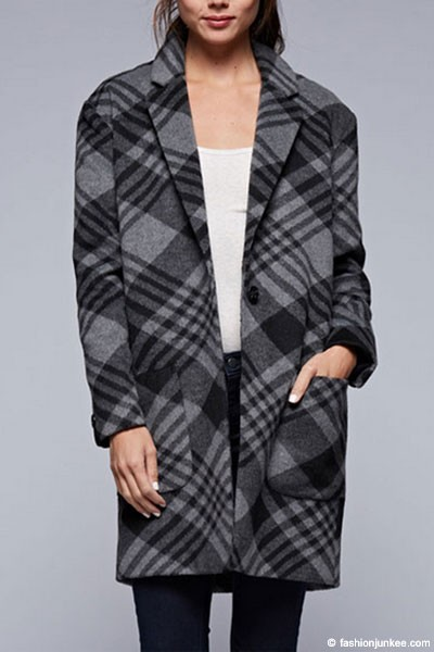 :As Seen In PEOPLE STYLEWATCH Magazine: Plaid Thick Boxy Single Button Coat-Grey
