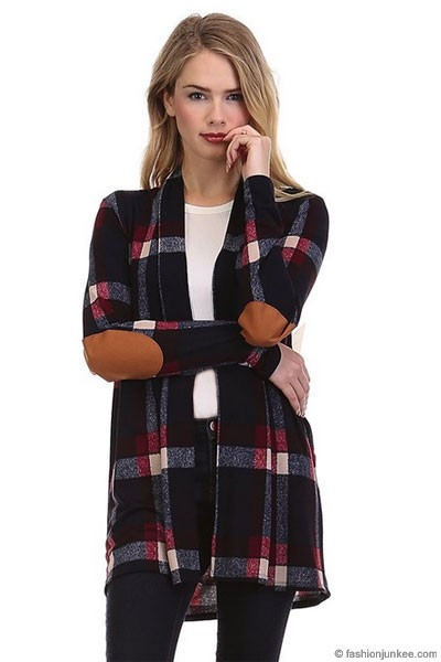 fc5043305 Plaid Check Print Cardigan with Suede Elbow Patch-Navy Blue