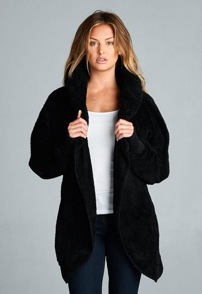 :AS SEEN IN US WEEKLY: Long Sleeve Hooded Plush Faux Fur Jacket with Pockets-Black