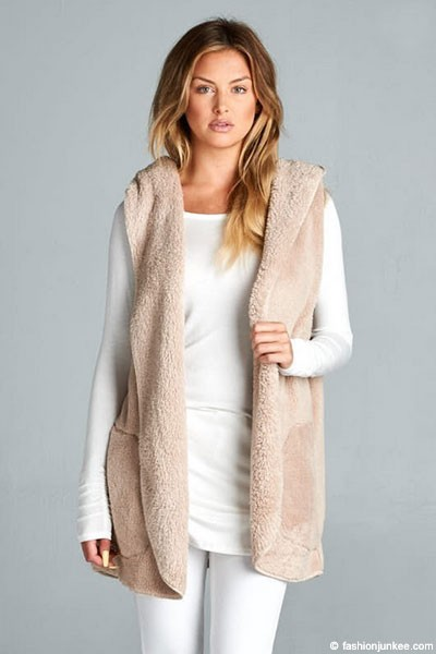 :AS SEEN IN US WEEKLY: Hooded Plush Faux Fur Vest with Pockets-Beige Off White