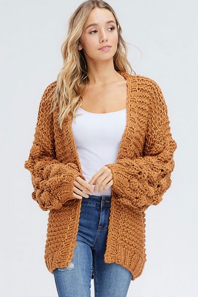 Heavy Knit Pom Pom Sleeve Cardigan Sweater-Camel Brown