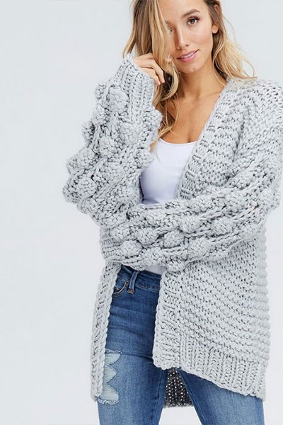 Heavy Knit Pom Pom Sleeve Cardigan Sweater-Grey