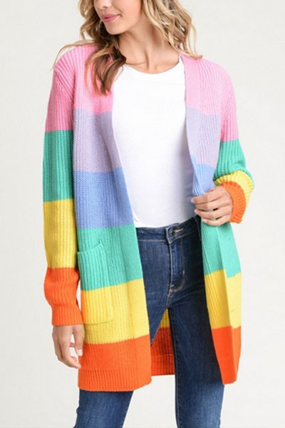 Colorful Rainbow Striped Knit Cardigan with Pockets-Pastel Rainbow