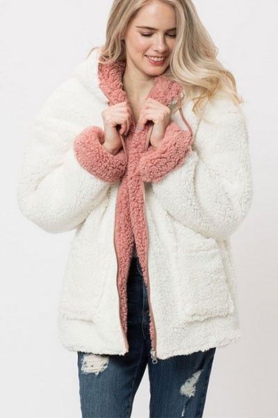 Zip Up Hooded Reversible Soft Sherpa Teddy Bear Sweater Jacket-Off White & Pink