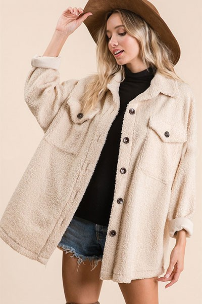 Sherpa Fleece Button Up Shirt Jacket Shacket-Taupe
