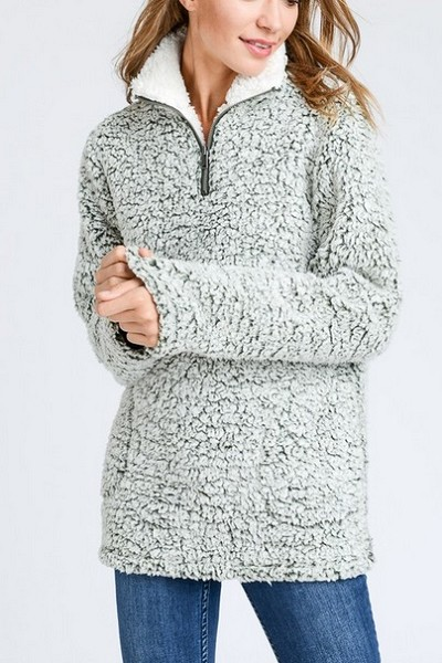 CYBER FLASH DEAL! ENDS SOON - Super Soft Sherpa Fleece Pullover Zip Up Sweater Top-Grey