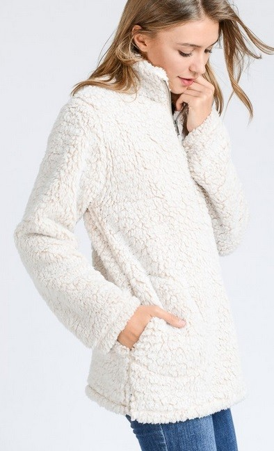 Super Soft Sherpa Fleece Pullover Zip Up Sweater Top-Off White Beige