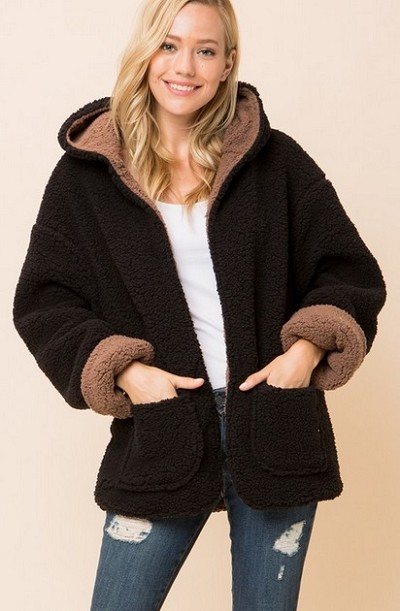 Hooded Reversible Soft Sherpa Teddy Bear Sweater Jacket-Mocha Brown & Black - BACK IN STOCK!