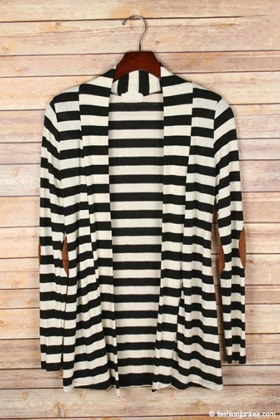 Striped Cardigan with Suede Elbow Patch-Black & Beige