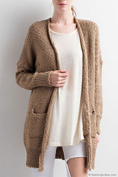 Long Sleeve Knit Open Front Cardigan Sweater with Pockets-Mocha Brown