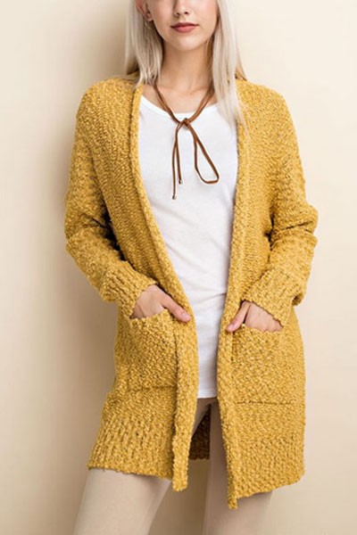 FLASH DEAL! ENDS SOON - Long Sleeve Knit Open Front Cardigan Sweater with Pockets-Mustard Yellow