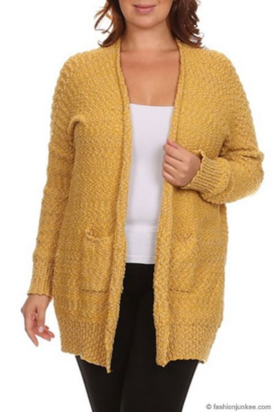 PLUS SIZE Long Sleeve Knit Open Front Cardigan Sweater with Pockets-Mustard Yellow