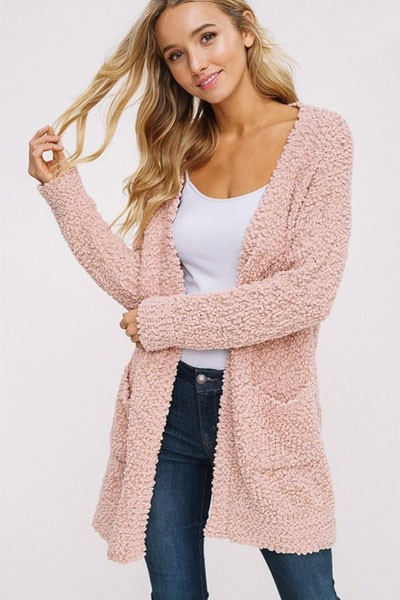 CYBER MONDAY FLASH DEAL! ENDS SOON - Long Sleeve Knit Open Front Cardigan Sweater with Pockets-Blush Pink