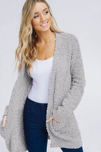 Long Sleeve Knit Open Front Cardigan Sweater with Pockets-Light Grey