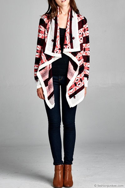 FLASH DEAL: Thick Tribal Aztec Print Cardigan Sweater Jacket-Pink