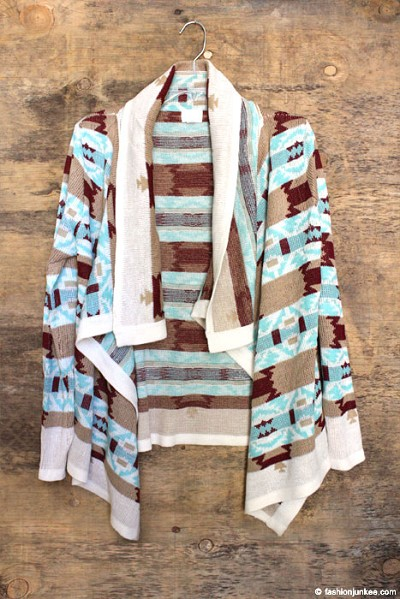 Thick Tribal Aztec Print Cardigan Sweater Jacket-Burgundy & Blue
