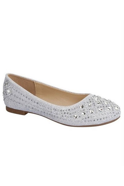 KIDS' SIZE - Girls Rhinestone Flats Shoes-Silver