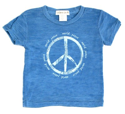 LollipopZen Vintage World Peace Burnout Baby Tee-Blue (Kids 3M-4T)