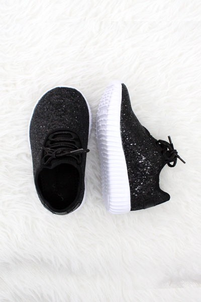 BABYS' SIZE - Girls Lace Up Glitter Bomb Sneakers Shoes-Black - (LIMITED TIME SALE!)