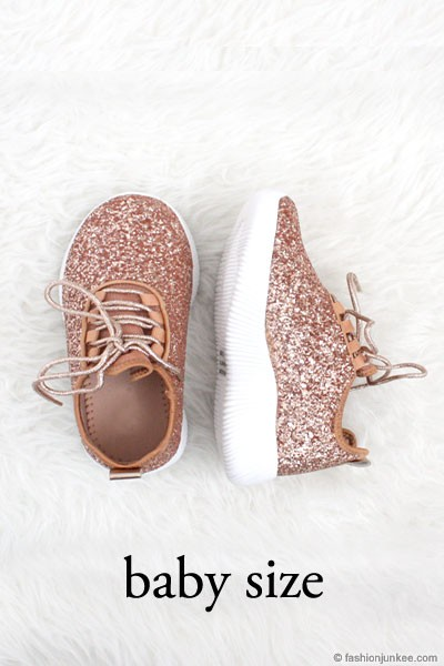 BLACK FRIDAY FLASH DEAL! ENDS SOON - BABYS' SIZE - Girls Lace Up Glitter Bomb Sneakers Shoes-Rose Gold- (LIMITED TIME SALE!)