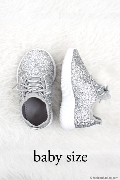 BABYS' SIZE - Girls Lace Up Glitter Bomb Sneakers Shoes-Silver- (LIMITED TIME SALE!)