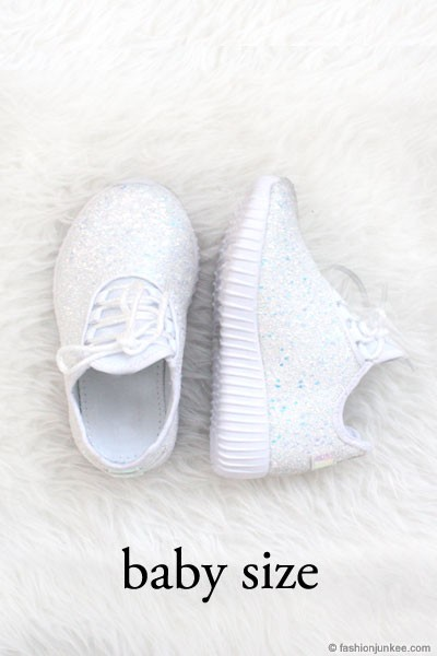 BLACK FRIDAY FLASH DEAL! ENDS SOON - BABYS' SIZE - Girls Lace Up Glitter Bomb Sneakers Shoes-White- (LIMITED TIME SALE!)