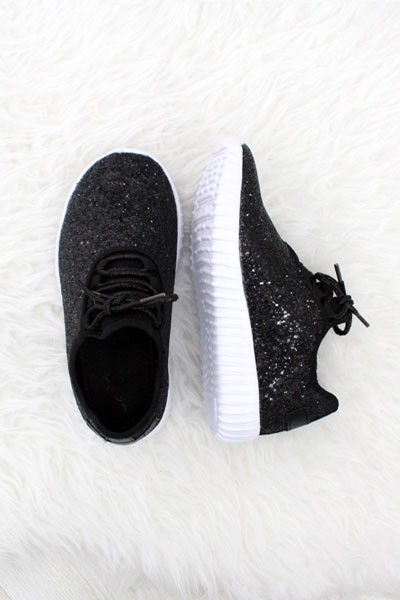 FLASH DEAL! ENDS SOON - KIDS' SIZE - Girls Lace Up Glitter Bomb Sneakers Shoes-Black - (LIMITED TIME SALE!)