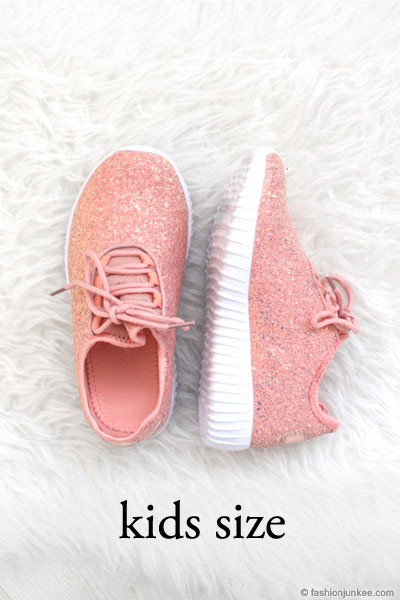 KIDS' SIZE - Girls Lace Up Glitter Bomb Sneakers Shoes-Dusty Rose, Pink  (LIMITED TIME SALE!)