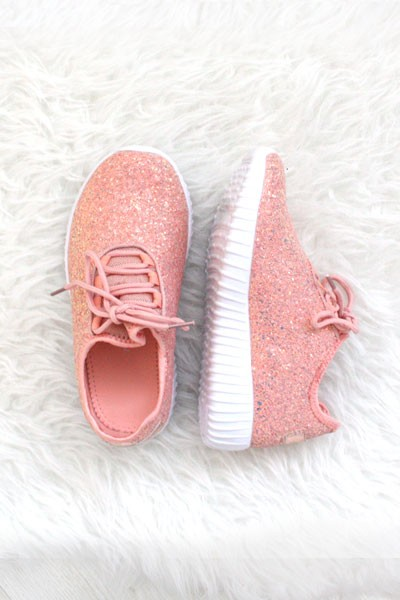 FLASH DEAL! ENDS SOON - KIDS' SIZE - Girls Lace Up Glitter Bomb Sneakers Shoes-Dusty Rose, Pink  (LIMITED TIME SALE!)