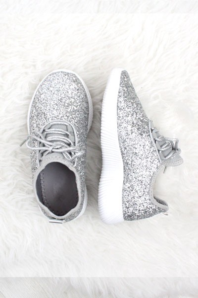 KIDS' SIZE - Girls Lace Up Glitter Bomb Sneakers Shoes-Silver- (LIMITED TIME SALE!)