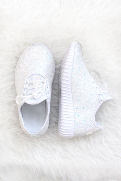 KIDS' SIZE - Girls Lace Up Glitter Bomb Sneakers Shoes-White  (LIMITED TIME SALE!)