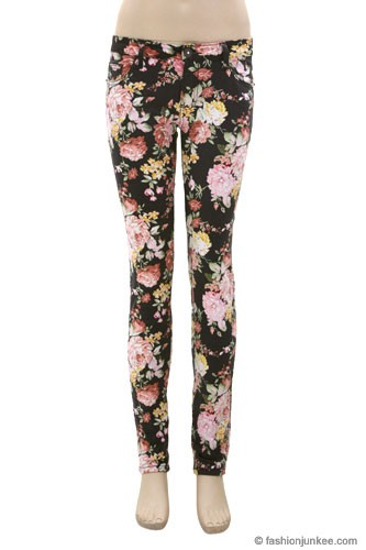 FLASH SALE:As Seen In REDBOOK Magazine: Floral Print Stretch Sexy Skinny Denim Jeans-Grey & Pink